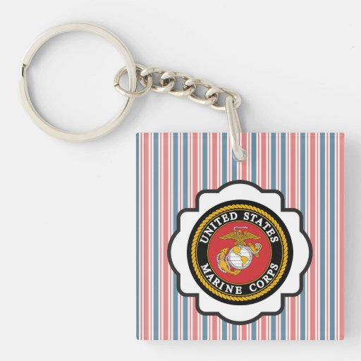 USMC Emblem with Red, White and Blue Stripes Acrylic Key Chain