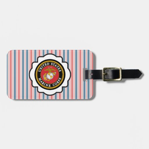 USMC Emblem with Red, White and Blue Stripes Tags For Bags