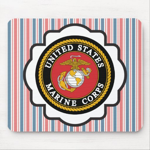USMC Emblem with Red, White and Blue Stripes Mouse Pads