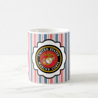 USMC Emblem with Red, White and Blue Stripes Coffee Mugs