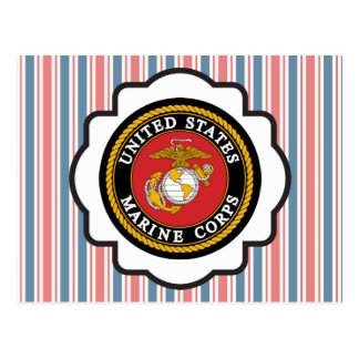 USMC Emblem with Red, White and Blue Stripes Post Card