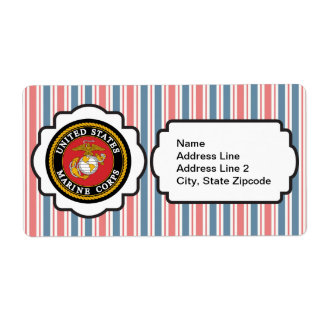 USMC Emblem with Red, White and Blue Stripes Shipping Label