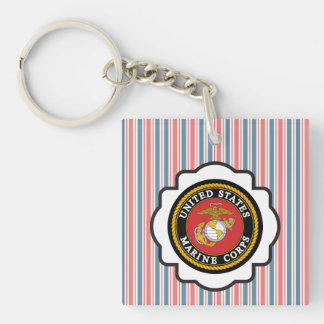 USMC Emblem with Red, White and Blue Stripes Single-Sided Square Acrylic Key Ring