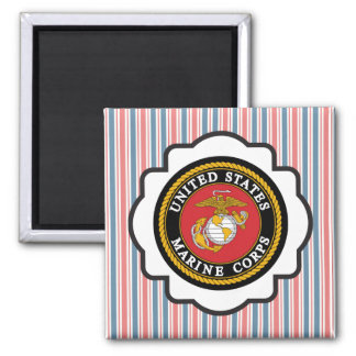 USMC Emblem with Red, White and Blue Stripes Square Magnet