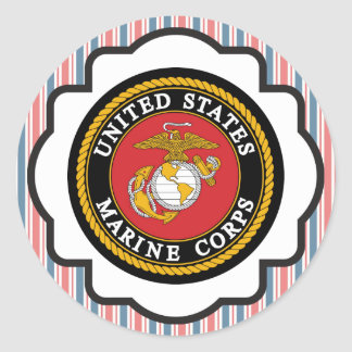 USMC Emblem with Red, White and Blue Stripes Round Sticker