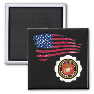 USMC Emblem with the US Flag Square Magnet