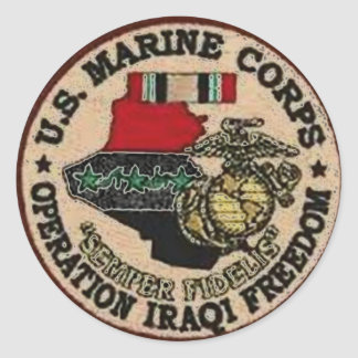 USMC IRAQ VETERAN CLASSIC ROUND STICKER