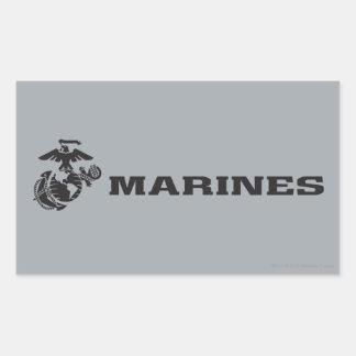 USMC Logo - Black Rectangular Stickers