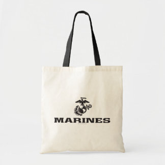 USMC Logo Stacked - Black Budget Tote Bag