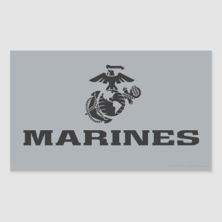 USMC Logo Stacked - Black Stickers