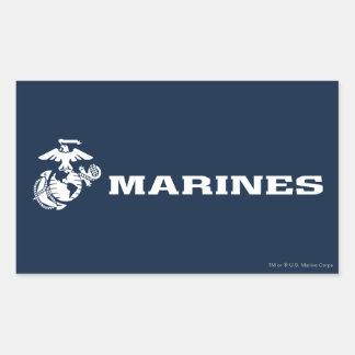 USMC Logo - White Rectangle Stickers