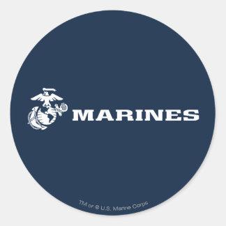 USMC Logo - White Round Stickers