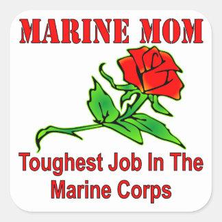 USMC Marine Mom Toughest Job In The Marine Corps Square Sticker