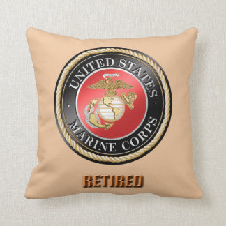 USMC Retired Throw Pillow