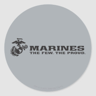 USMC The Few The Proud Logo - Black Round Sticker