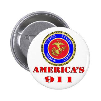 USMC United States Marine Corps America's 911 6 Cm Round Badge