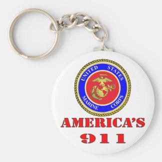 USMC United States Marine Corps America's 911 Basic Round Button Key Ring