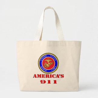 USMC United States Marine Corps America's 911 Jumbo Tote Bag
