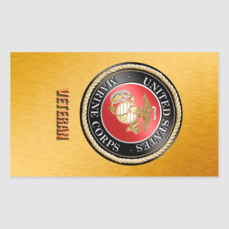 USMC Veteran StickerUSMC, U.S. Marine Corps, woosh Rectangular Sticker