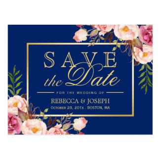 (USPS) Pink Floral Gold Navy Blue Save the Date Postcard