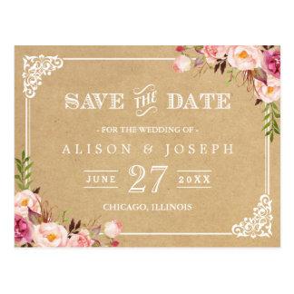 (USPS) Rustic Floral Kraft Wedding Save the Date Postcard