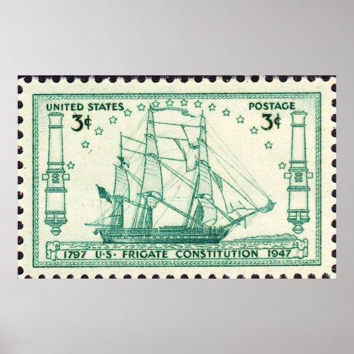 USS Constitution 150th Anniversary Stamp 1947 Larg Print