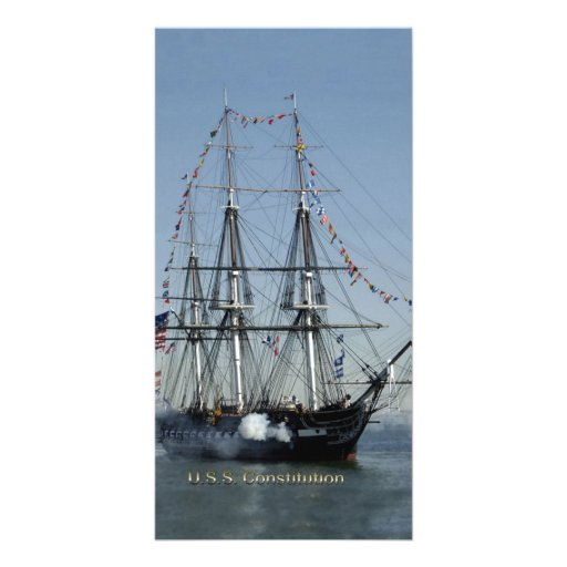 USS Constitution Firing Cannons Photo Greeting Card