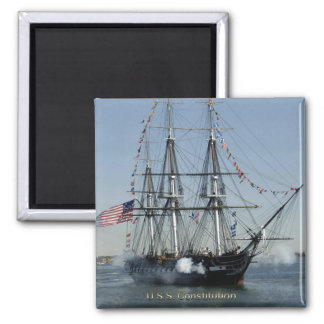 USS Constitution Firing Cannons Square Magnet