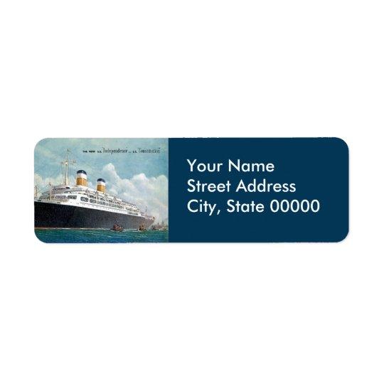 USS Independence & SS Constitution Vintage Return Address Label