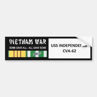 USS INDEPENDENCE VIETNAM WAR VETERAN BUMPER STICKER