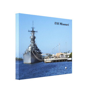 USS Missouri Wrapped  Canvas Stretched Canvas Prints