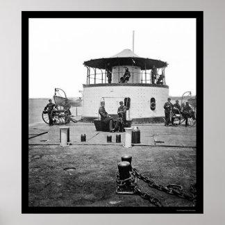 USS Monitor Catskill in Charleston Harbor, SC 1865 Poster