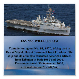 USS NASHVILLE ( LPD-13 ) POSTER