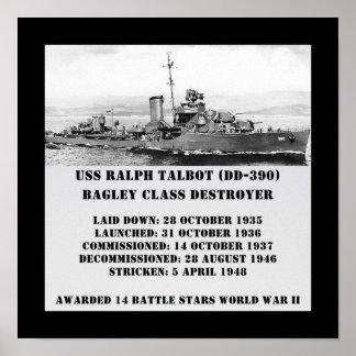 USS Ralph Talbot DD-390 Print