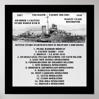USS Ralph Talbot DD-390 Poster