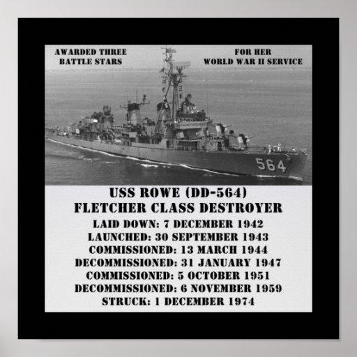 USS Rowe (DD-564) Poster