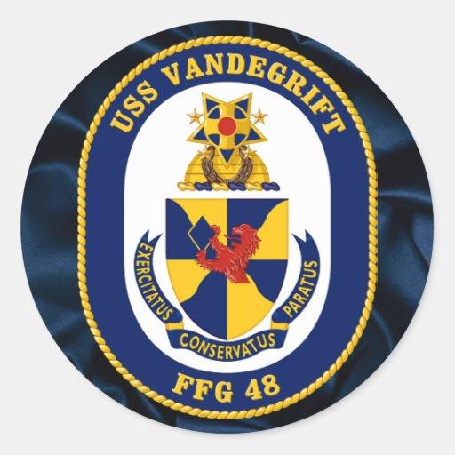 USS Vandergrift Round Stickers