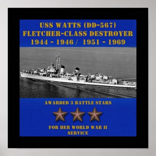 USS Watts (DD-567) Posters