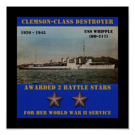 USS Whipple (DD-217) Posters