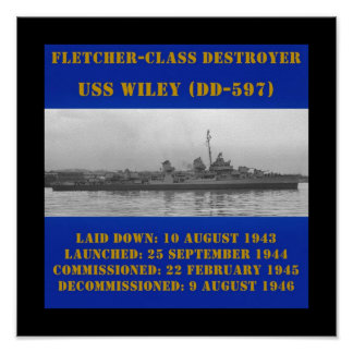 USS Wiley (DD-597) Posters