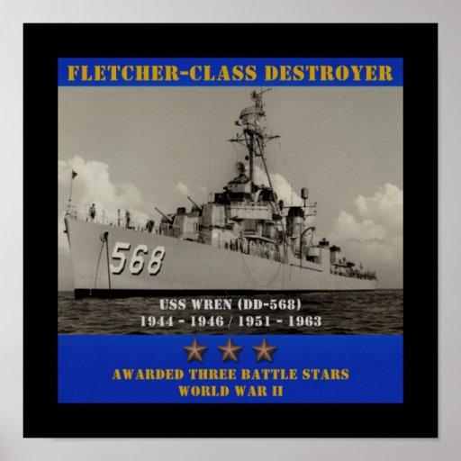 USS Wren (DD-568) Posters