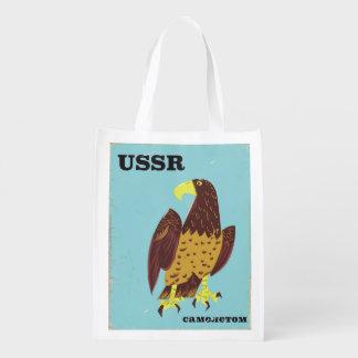 USSR Eagle vintage travel poster Reusable Grocery Bag