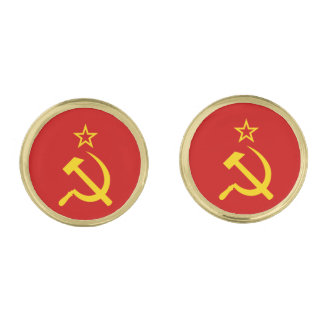 USSR flag Gold Finish Cufflinks