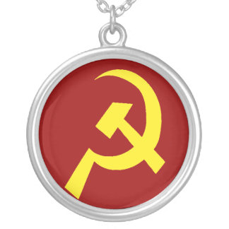 USSR Hammer Sickle Symbol Silver Plated Necklace