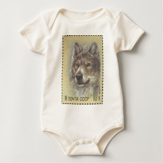 USSR ~ Stamp Russian Wolf Baby Bodysuit