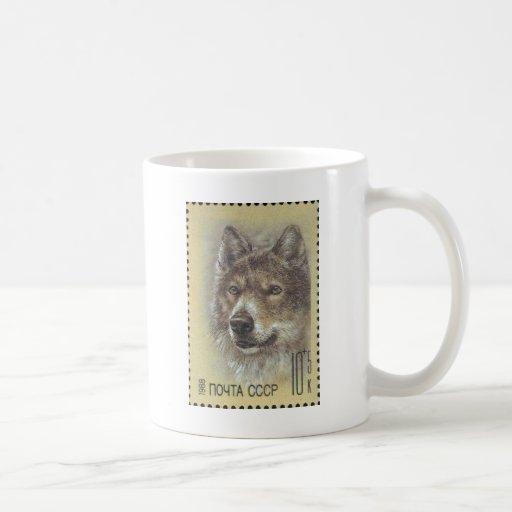 USSR ~ Stamp Russian Wolf Mugs