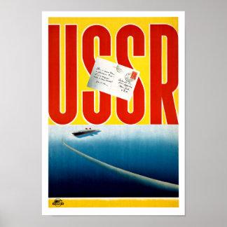 USSR Vintage Cruise Travel Poster Restored