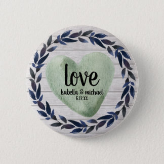 ustic Green Watercolor Heart Personalized Wedding 6 Cm Round Badge