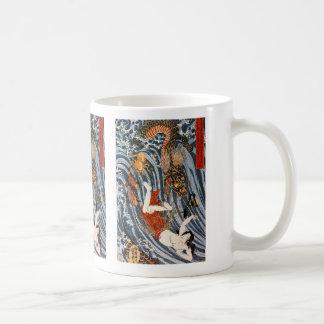 Utagawa country 芳, 'ball taking' coffee mug