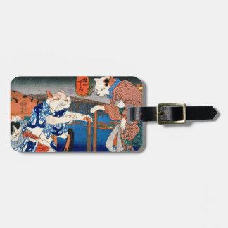 Utagawa country 芳 'enjoying the cool air of cat' luggage tag
